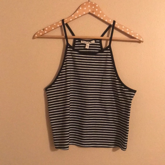 59bcd2efe4be97 Black and White Stripe Express Crop Top Tank - L